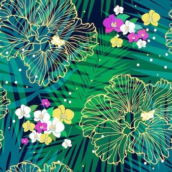 Reticolo tropicale senza giunte di vettore con foglie di palma e fiori