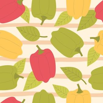 Reticolo di verdure senza giunte di vettore con simpatici peperoni gialli, rossi e verdi, paprika con foglie verdi. vegetariano, vitamine. illustrazione piatta disegnata a mano su sfondo a strisce
