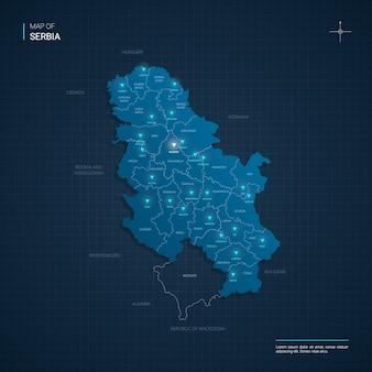 Illustrazione della mappa di serbia vettoriale con punti luce al neon blu