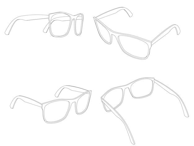 Insieme di vettore dell'illustrazione di arte di linea di occhiali 3d occhiali