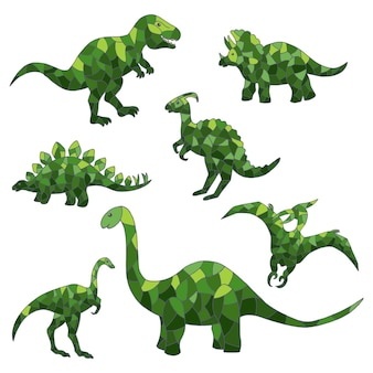 Insieme di vettore dei dinosauri verdi astratti su sfondo bianco. per la progettazione di mosaici, vetrate, copertine, confezioni e stampe tessili