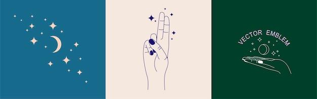 Set vettoriale di modelli di design del logo astratto in semplici catene di gesti delle mani in stile lineare
