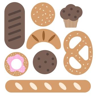 Set vettoriale di prodotti da forno pane baguette croissant ciambella pretzel muffin pancake cookies