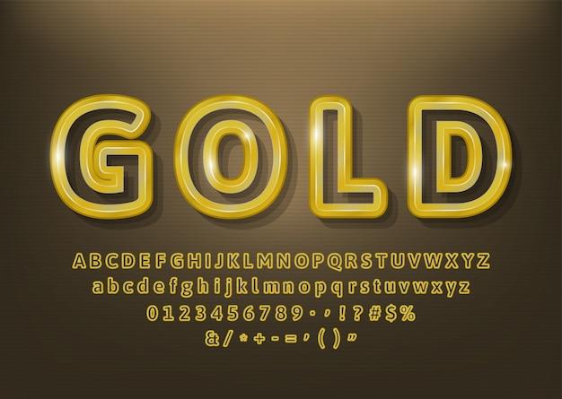 Insieme di vettore di belle lettere di alfabeto di contorni dell'oro, numeri. illustrazione vettoriale