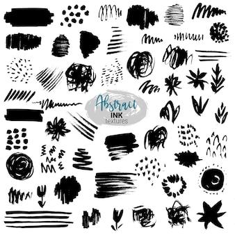 Insieme di vettore di pennellate di inchiostro nero