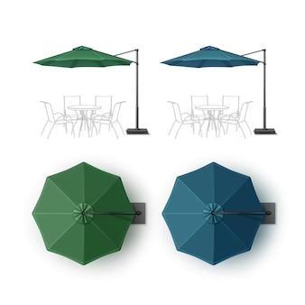 Insieme di vettore di blu verde patio vuoto all'aperto beach cafe bar pub lounge restaurant