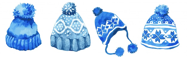 Insieme di vettore dei cappelli lavorati a maglia blu