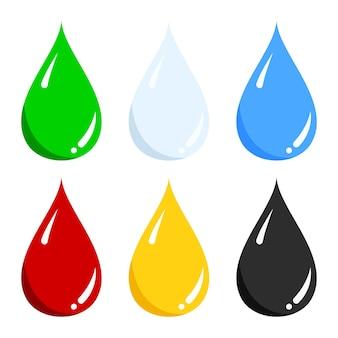 Insieme di vettore di acqua blu, verde, latte azzurro, sangue rosso, miele giallo, icona goccia di olio nero isolato su bianco.