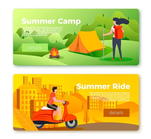 Insieme di vettore dei modelli di banner luminosi con campeggio ragazza e uomo in moto. città, foresta, fiume e montagne su uno sfondo morbido. con posto per il tuo testo.