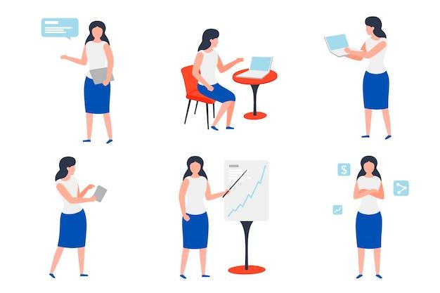 Set vettoriale di ragazze d'affari in diverse situazioni di lavoro: chat, presentazioni, freno, fiducia.