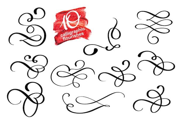 Insieme di vettore di elementi divisori di fioritura di design calligrafico e vignetta di decorazioni di pagina.