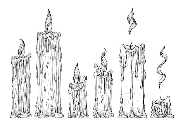 Insieme di vettore dell'illustrazione artistica delle candele fatta a mano con penna e inchiostro