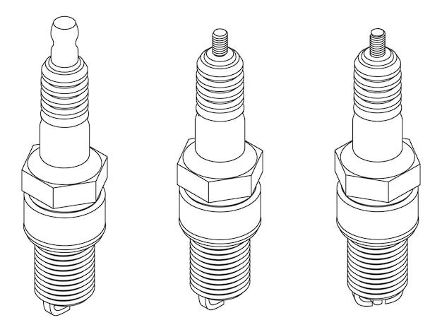 Set vettoriale di candele di accensione diverse per auto