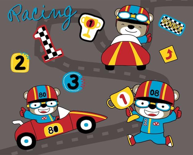 Insieme di vettore del fumetto di corse automobilistiche con divertente corridore
