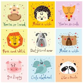 Set vettoriale di carte con simpatici volti di animali per interni, striscioni e poster per bambini.