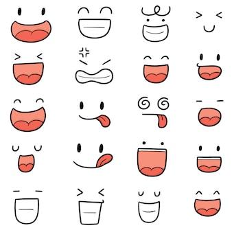 Vector set di faccia da cartone animato