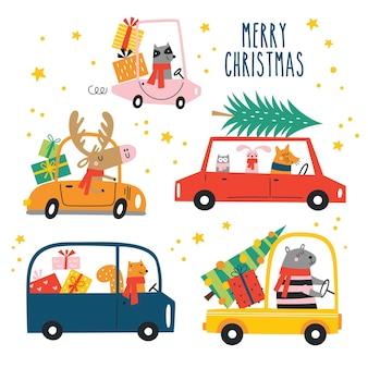 Set vettoriale di cartoni animati divertenti animali di natale con sciarpe e regali in auto sfondo invernale