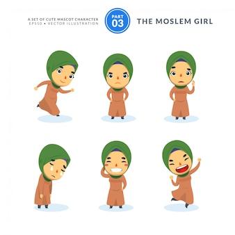 Insieme di vettore delle immagini del fumetto della ragazza musulmana. terzo set. isolato