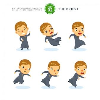 Insieme di vettore delle immagini dei cartoni animati di un sacerdote. secondo set. isolato