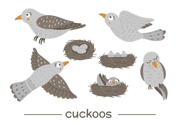 Insieme di vettore dei cuculi divertenti piatti disegnati a mano di stile del fumetto in diverse pose. illustrazione sveglia degli uccelli del bosco