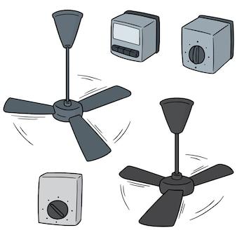 Set vettoriale di ventilatore a soffitto e interruttore della ventola