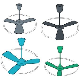 Set vettoriale di ventilatore a soffitto
