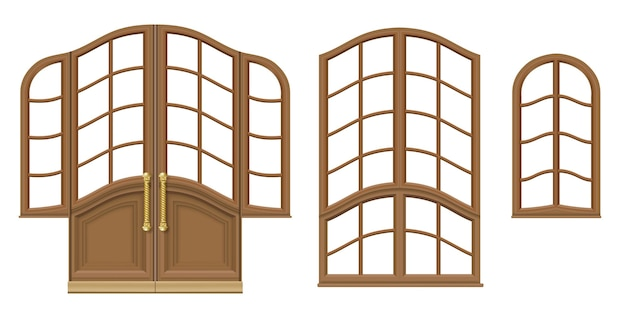 Vettore. una serie di porte e finestre in legno classiche. modelli per il design. falegnameria vintage e mobili