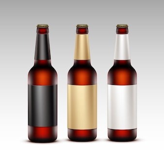 Insieme di vettore delle bottiglie marroni trasparenti di vetro vuote chiuse