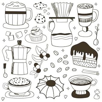 Insieme di vettore di doodle caffè, sfondo caffè doodle. elementi di caffè. impostazione dell'ora del caffè