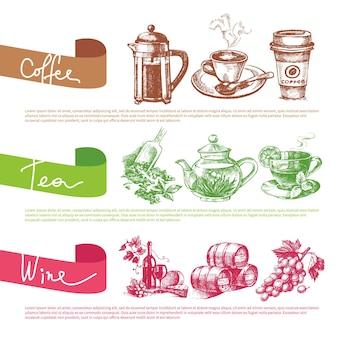Insieme di vettore delle illustrazioni di schizzo di caffè, tè e vino. modelli di design del menu