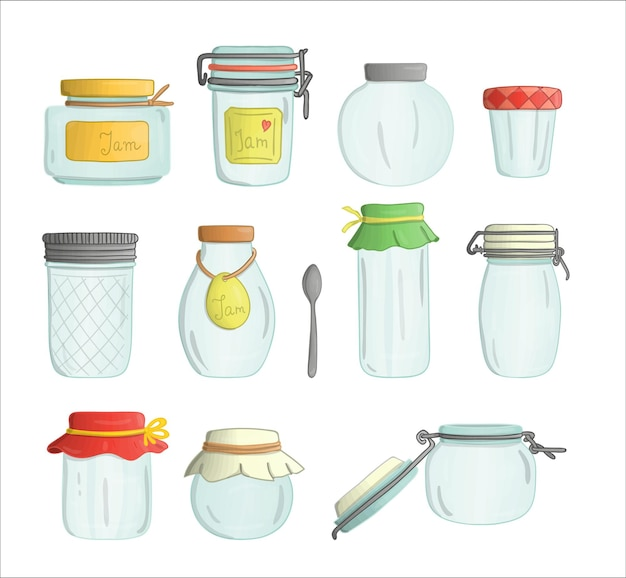 Insieme di vettore dello stile dell'acquerello di vasetti di marmellata di vetro colorato isolato su priorità bassa bianca. collezione colorata di vasi vuoti per conserve.