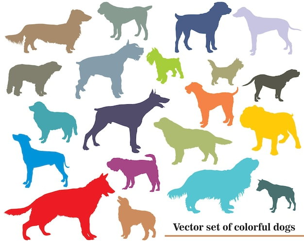 Set vettoriale di sagome di cani colorati