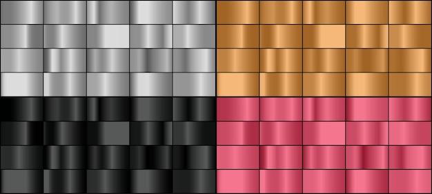 Insieme di vettore dei gradienti di metallo colorato.