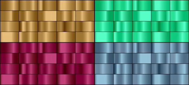 Insieme di vettore dei gradienti metallici colorati.