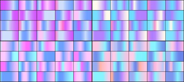 Insieme di vettore dei gradienti olografici al neon colorati.