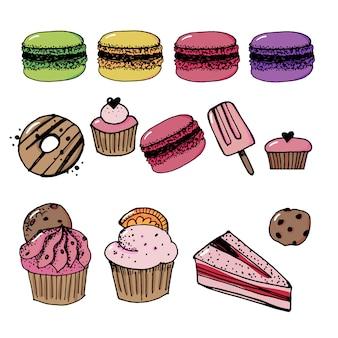 Vector set di icone di dolci e confetteria.