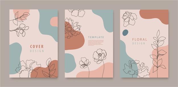 Set vettoriale di fiori a linea continua, copertine di foglie, banner, poster, cartoline, storie di social media, modelli di design di volantini. design alla moda con onde, colori pastello