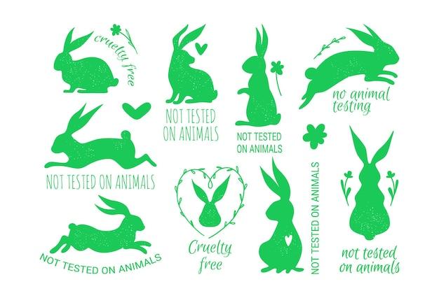 Set vettoriale di badge cruelty free con timbri di coniglio coniglio per etichette di imballaggio eco friendly