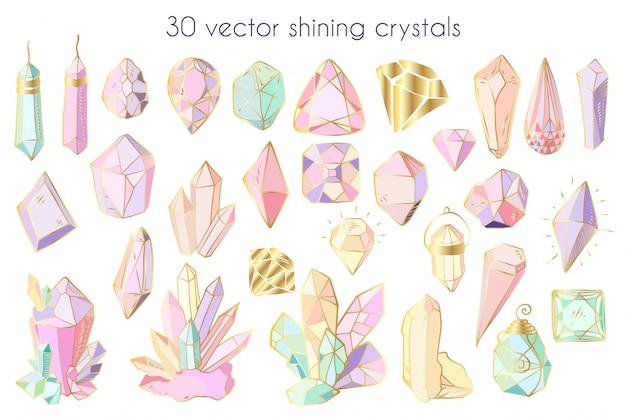 Insieme di vettore di cristalli o gemme, oggetti isolati su bianco