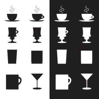 Set vettoriale di tazze e bicchieri in eps