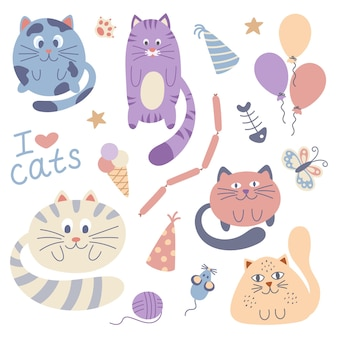 Insieme di vettore degli autoadesivi svegli di scarabocchio con i gatti divertenti. illustrazione vettoriale disegnato a mano. set di gatti su sfondo bianco.
