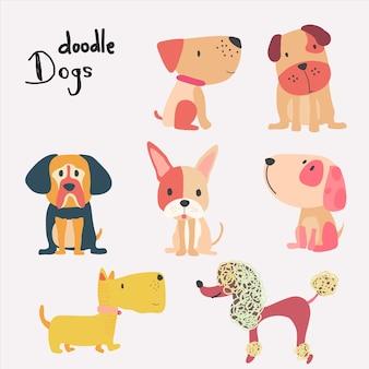 Set vettoriale di cane simpatico cartone animato piatta
