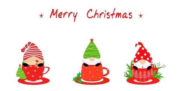 Vector set carino di gnome in tazza di caffè o cioccolato con la parola merry christmas xmas