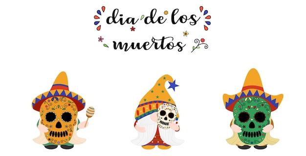 Vector set simpatico gnomo che indossa e tiene in mano la maschera teschio dia de los muertos giorno della morte del messicano