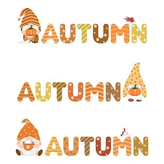 Vector set simpatico gnomo con parola autunno zucca foglie d'acero tazza di caffè stagione autunnale