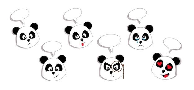Insieme di vettore delle espressioni di panda carino