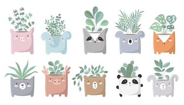 Set vettoriale di simpatici poster con piante da appartamento in un divertente vaso di animali