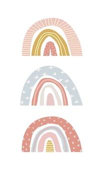 Insieme di vettore degli arcobaleni di primavera carino su un bianco isolato