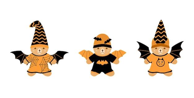 Vector set simpatico orsacchiotto che indossa tuta da pipistrello con ala e cappello concetto di halloween arancione e nero