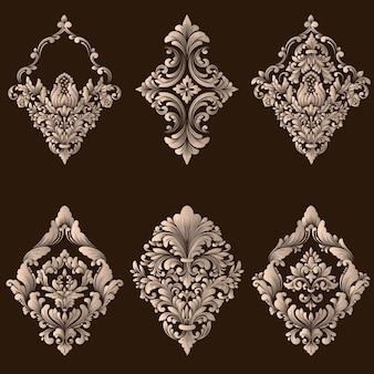 Insieme di vettore di elementi ornamentali damascati